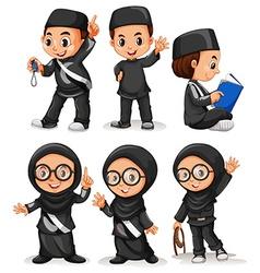 Muslim boy and girl in black costume vector