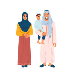 Muslim family mother father and son isolated vector