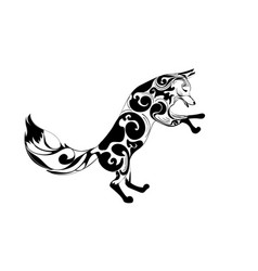 Ornamental fox jumping design vector