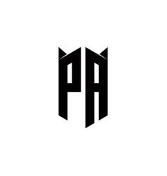 Pa logo monogram with shield shape designs vector
