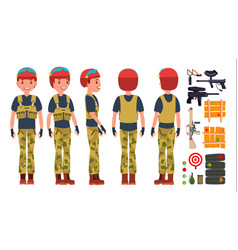Paintball player professional gamer vector