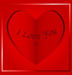 paper heart card I Love You vector image