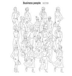 People crowd sketch outline black and white style vector