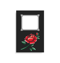 Photoalbum cover design hand drawn red rose vector