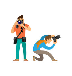 Photographers with modern digital photo cameras vector