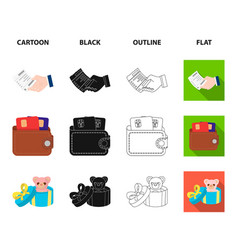 Purse with credit cards and other web icon in vector