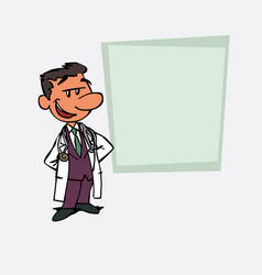 quiet and relaxed white doctor is showing vector image