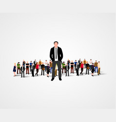 Real leader - business man in crowd vector