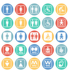 restroom icons set on color circles white vector image