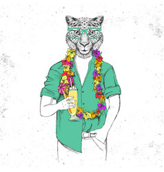 Retro hipster animal cheetah with tropic cocktail vector