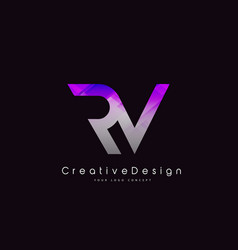 Rv letter logo design purple texture creative vector