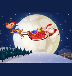 santa claus on a sleigh with deer at night vector image