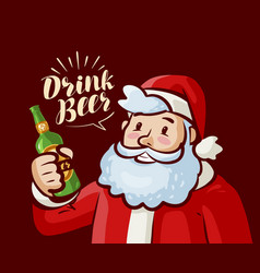 Santa claus with bottle of beer in hand christmas vector