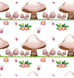 Seamless design with mushrooms and butterflies vector image