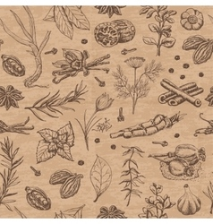 Seamless pattern with spices and herbs on a beige vector image