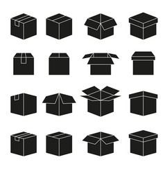set abstract box icons vector image