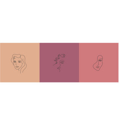Set abstract women portraits creative vector