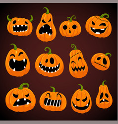 Set halloween pumpkins with different faces vector