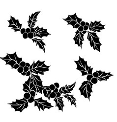 set of christmas holly leavesblack silhouette of vector image