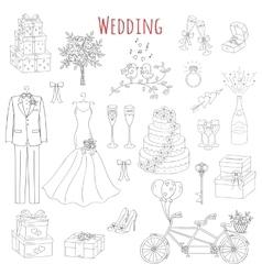set of hand drawn wedding icons vector image