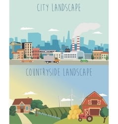 Set urban and countryside landscapes vector
