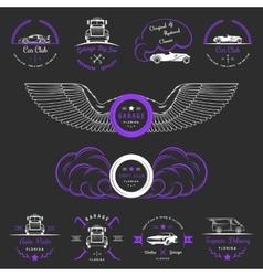 set vintage badges car club and garage vector image