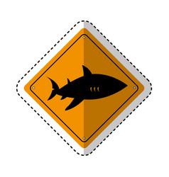 Shark silhouette alert icon vector