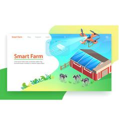 smart farm technology drone control isometric vector image