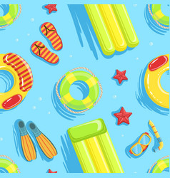 swimming pool with colorful floats seamless vector image