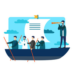 team work on boat vector image