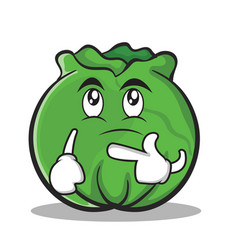 thinking cabbage cartoon character style vector image