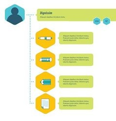 Timeline Infographic template blue green yellow vector