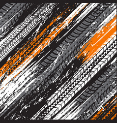 Tire tracks grunge background offroad vector