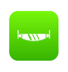 two handled saw icon digital green vector image
