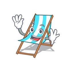 waving beach chair character cartoon vector image