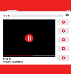 Website window design flat user with video player vector