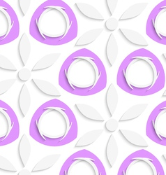 White flowers and purple circles seamless vector