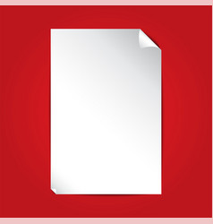 white paper on red background with copy space vector image