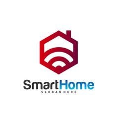 wifi house logo smart home tech logo house net vector image