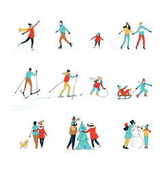 winter sport activities christmas decorating vector image