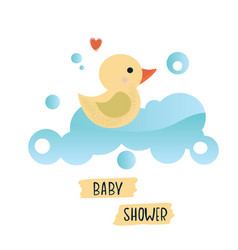 with a cute yellow duck vector image