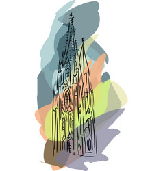 With gothic cathedral vector