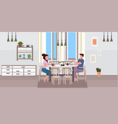 young couple having breakfast man woman sitting at vector image