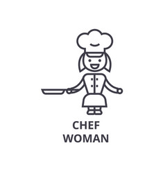 chef cooking meat line icon outline sign linear vector image