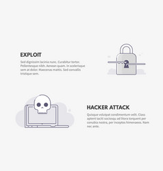 exploit and hacker attack cyber security concept vector image