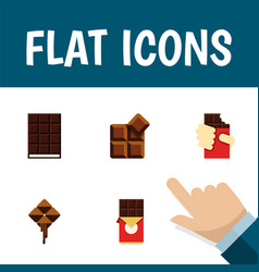 Flat icon cacao set of delicious dessert cocoa vector