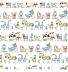 Funny Cartoon Village Domestic Animals Seamless vector image