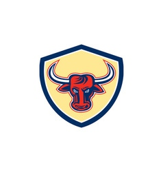 Angry Bull Head Crest Retro vector image vector image