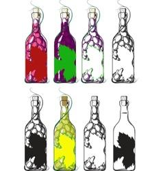 bottles of wine vector image vector image