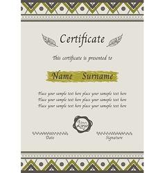 certificate tribal vector image
